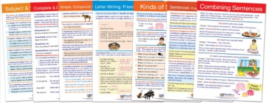"USAGE: Types of Sentences & Grammar Rules Bulletin Board Chart Set of 7 - Laminated - ""Write-On - Wipe Off"" - 18"" x 12"""
