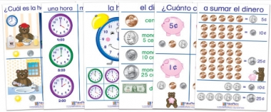 Time & Money Bulletin Board Chart Set of 6 - Early Childhood Spanish Edition
